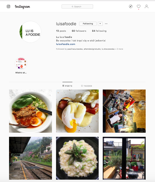 Lu is a foodie Instagram